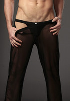 Cheap Hot New Comfy Sexy Men's Male See-through Mesh Underwear Lingerie Transparent Shorts Hot Bottoms Black White N24