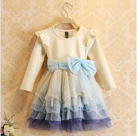 Cheap Hot sales Children Girls Dress Long Sleeve 2014 New Fashion Brand Bow Gauze Cake Birthday tutu Dress 5pcs lot cq