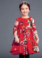 High Quality Autumn Girls Monsoon Dresses Middle Sleeve Flow...