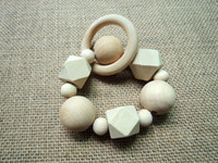 Wholesale Funky chunky Crochet nursing toy wood beads safe geometric baby organic geometric beaded rattle child toddler NT059