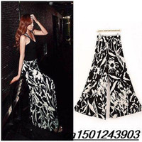 Cheap New 2014 hot Women's Vintage Printing Casual loose style Leg Long Pants Palazzo Cotton Trousers