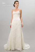 Cheap Wholesale - New Arrival White Ivory Lace Wedding Dresses Bridal Gowns Two Piece layers Stretch Real Actual Images Custom Made