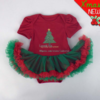 Wholesale Santa Claus Father Christmas Girl Dress Baby One Piece Romper Girl Rompers Children Clothes Kids Clothing Baby Dress Lace Jumpsuit Rompers
