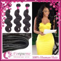 Wholesale 100 human hair extensions A remy virgin peruvian malaysian indian cambodian brazilian hair weave body wave wavy weft b bundles