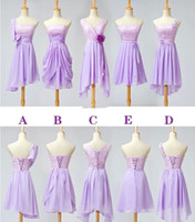 Cheap 2015 Cheap In Stock 2.4.6.8 Lavender Short Mini Bridesmaid Dresses with Lace Summer Dress for Wedding Under 50 Chiffon Prom Cocktail Dress