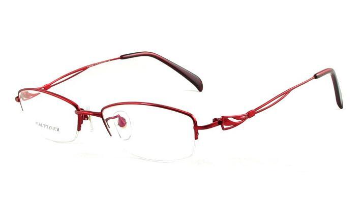 new eyewear womens eyeglasses women half optical frame red pink color lady eyeglass frames titanium metal glasses online drop shipping lady half optical