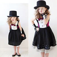 Wholesale 30pcs DHL Jazz style gentleman black dress with rose tie bow belt baby kids girls dress party dress off tcq