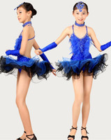 latin dress - 4pcs set child Latin chacha Salsa latin costume set dress Backless Crystal Feather girl s Skirt Party Show Dance Necklace Gloves tls008