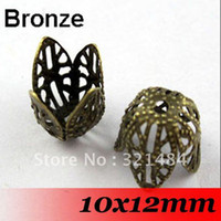 Wholesale Free ship Antique bronze x12mm piece Metal Filigree Bead Caps Findings For Jewelry Making