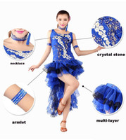 Wholesale 4pcs set sexy Latin performance costume dress necklace armlets Multi Layers Irregular skirt Crystal Party Show Dance stage wear tl059