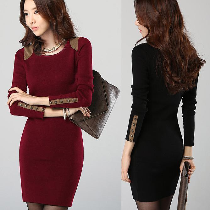 Fashion Winter Dress Slim Hip Long-sleeve Casual Dress Solid ...