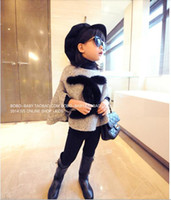 Wholesale New Autumn Winter Children s clothing Baby Girl CC Fashion Letter Outerwear Smock Cloak Kids Top Woolen Poncho Coat
