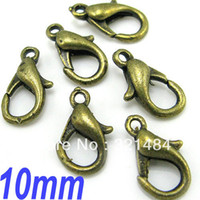 Cheap Free ship 500piece 10mm Antique bronze tone metal lobster claw clasps jewelry findings accessories