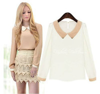 Cheap New Arrival! 2014 New Spring Ladies blouse Fashion peter pan