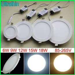 free DHL 6W 9W 12W 15W 18W Led Ceiling Lights Recessed Downlights 85-265V Ultrathin Led Panel Lights With Power Supply Cool white Warm White