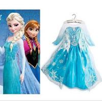 al por mayor ropa congelados 2t-Frozen Princesa Party Elsa reina del vestido de lujo del traje de Cosplay Girls ropa 3-8Y