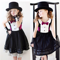 american jazz - 6pcs Jazz style gentleman black dress with rose tie bow belt baby kids girls dress party dress off tcq W4
