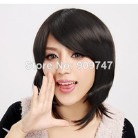 Cheap COLORONE Capless Short High Quality Synthetic Black Wig straight natural looks fiber hair wigs HCWG003