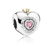 14k real gold - 100 Sterling Silver K Real Gold Pink Princess Heart Charm Bead Fits European Pandora Jewelry Bracelets Necklaces