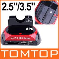 Wholesale USB quot quot Dual Twin SATA HDD Docking Station e SATA Hub CF TF MS SD XD Card Reader External Storage