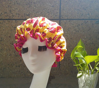 Wholesale New yellow with red bowknot Bright color Satin waterproof shower cap homeware hair hat two layer bonnet