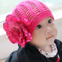 Wholesale Exclusive baby hat hat out of print in the spring and autumn dear baby skin hat hook knit cap big flower Sequin Flower Rose Red
