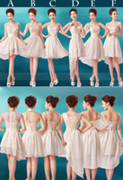 Cheap 2015 Cheap In Stock 2.4.6.8 Champagne Short Mini Bridesmaid Dresses with Beach Dress for Wedding Under 50 Chiffon Prom Bridesmaids Dress