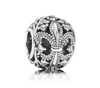 Wholesale 100 Sterling Silver Fleur de Lis Openwork Charm Bead Fits European Pandora Jewelry Bracelets Necklaces