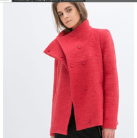 Cheap autumn winter women overcoat wool coat trench fashion turn-down collar double pocket short jacket female woolen c-078