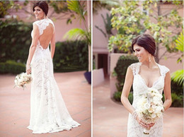 Wholesale 2014 Stunning Design Lace Backless Wedding Dresses Cap Sleeve V Neck Floor Length Elegant Style Mermaid Bridal Gowns W432