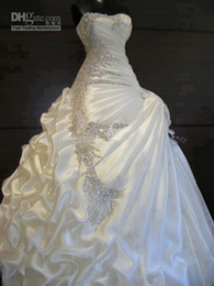 Wholesale 2014 Gorgeous A line Ruffles Sweetheart Strapless Crystal Wedding Dresses Beautiful stunning Bridal Dresses