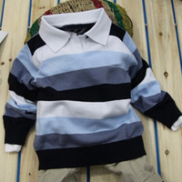 cotton shirt - 5pcs Baby boy sweater Stripe boy pullover children polo t shirt boys children Pullover out sweater off Cheap D CX