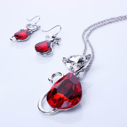 Wholesale Pendant Necklace Earrings Set Cat Pattern Rhinestone Red Jewelry Set For Party Christmas Presents TL9378