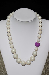 Wholesale Pearl Silicone Teething necklace with heart beads for Baby