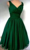 cocktail dress - Emerald Green s Cocktail Dress Vintage Tea Length Plus Size Chiffon Overlay Elegant Cocktail party Dress