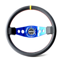Wholesale Racing Steering Wheel Blue Spoke Leather Yellow Circle Modified For Car Build Your Car