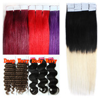 Wholesale PU Tape Skin Weft Hair Extensions g Straight Wavy Dark Blonde Brown Green Mix Ombre Color Soft Indian Remy Human Hair