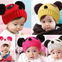 Cheap 1PC New Winter Hot sale lovely animal panda baby hats caps kids boy girl crochet beanie hats winter cap for children Drop Free
