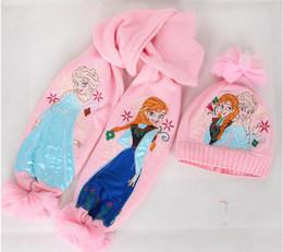 Wholesale Frozen knitting wool chilren s Scarves caps set for Y Y Children Accessories cartoon kids baby girls elsa anna girls beanie