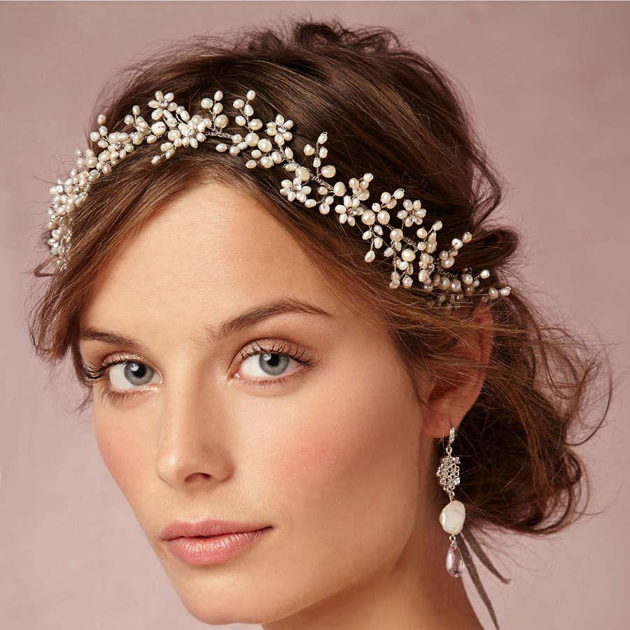 Vintage Wax Flower Crowns Bridal Tiaras Delicate Forehead Wrap 1920s,inspired Adornment Hair Wedding Hand Hair Combs with Pearls Crystals Rhinstone Hair