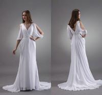 Wholesale White Greek Sheath Goddess Beach Wedding Dresses Fall Winter Hollow Half Long Sleeve Beaded Chiffon V Neck Garden Vestidos De Novia Hot