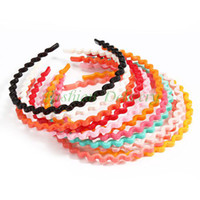 Cheap 12Pcs Lot Candy Color Wavy Hair Hoop Spring Spiral Hoop Head Band Hair Accessories Hair Bands For Women Free Shiping