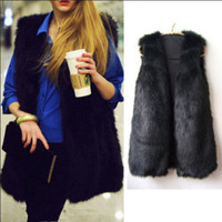 Wholesale 2016 Winter New Hot Fashion Waistcoat Women Fake Fur Sleeveless Vest Coat V Collar Long Waistcoat Jacket Outwear Size S XXXL