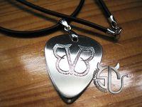 handmade band guitar picks - rock band Black veil brides logo stainless steel guitar pick necklace for men women rok fans