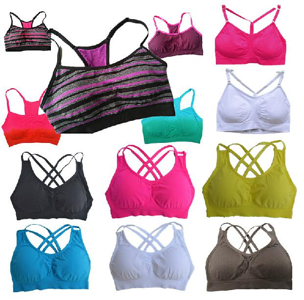Pro-fit Cross Spaghetti Straps Sports Bra Fitness Yoga Stretch ...