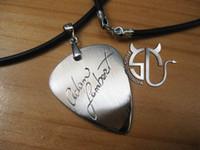 Pendant Necklaces adam lambert - Adam lambert Signature stainless steel Handmade guitar pick pendant necklace for fans girls boys