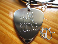 Wholesale Rock jung joon young logo Model No handmade stainless steel guitar pick pendant necklace for fans
