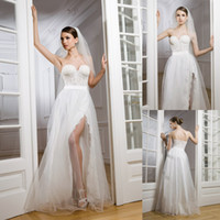 Wholesale Custom Made A Line Wedding Dress Lace Corset Wedding Gown With Beads High Slit Bridal Gown Tulle Bridal Dress