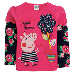 Wholesale 2014 New Spring Kids Wear Girls Peppa Pig Cartoon t shirt Tops Baby Long Sleeve tshirt Children s Embroidery T shirts