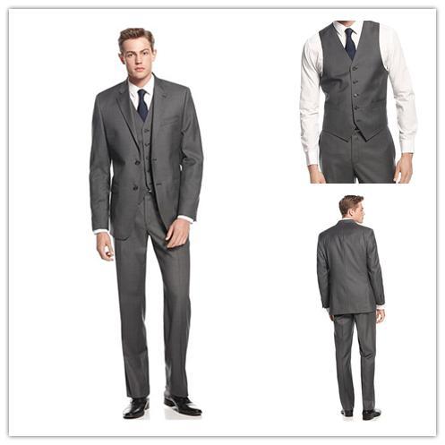 Dark Grey Mens Suits Tuxedos for Men Notched Lapel Mens Wedding ...